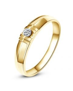 Alliance solitaire sophistiqué. Alliance femme. Or jaune, Diamant | Mathilde