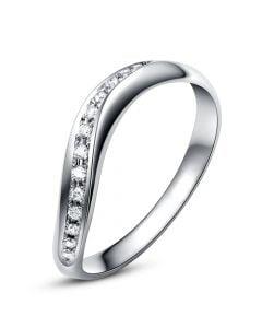 Alliance ondulée or blanc - Alliance femme avec diamants