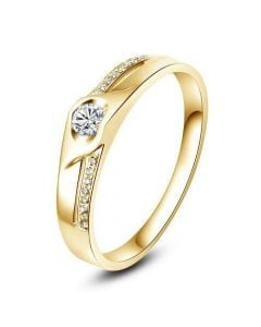 Alliance Homme solitaire diamants - Alliance moderne Or jaune 18cts