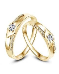Alliances Duo solitaires diamants - Alliances modernes Or jaune 18cts