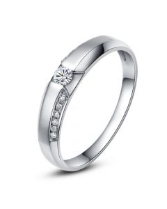 Achat alliance mariage - Alliance Solitaire Femme - Or blanc, diamants | Garland