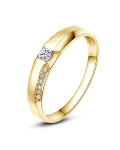Achat alliance mariage - Alliance Solitaire Femme - Or jaune, diamants | Dietrich