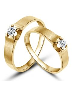 Alliances or jaune et diamants - Alliances solitaires pour Couple