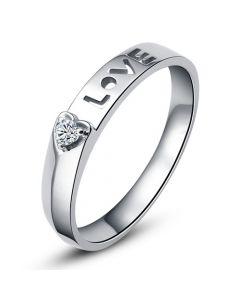 Alliance Love & Coeur de diamant - Platine - Pour Femme