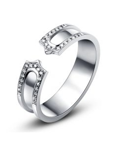 Alliance or blanc originale - Anneau discontinu pour Elle - Diamants | Sima