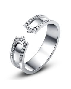 Alliance or blanc originale - Anneau discontinu pour Elle - Diamants   Sima