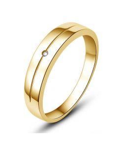Alliance Homme or jaune 18cts - Diamant serti clos