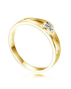 Alliance solitaire ajouré - Alliance Homme diamant or jaune
