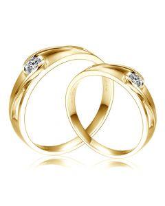 Alliances solitaires ajourés - Alliances Duo d'or jaune