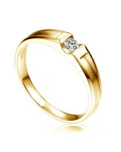 Alliance solitaire diamant -  Alliance Homme or jaune 18cts | Armstrong