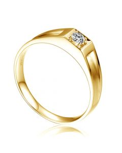Alliance de type solitaire.  Alliance Femme en or jaune et diamant | Chana