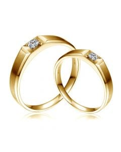 Alliances Couple. Or jaune. Diamants 0.200ct