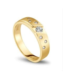Bague alliance constellation diamantée - En or jaune 18cts - Homme | Stern