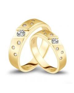 Fedi Nuziali Yasmina & Stern - Oro Giallo, Diamanti