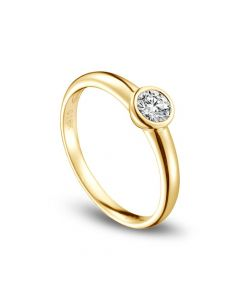 Bague solitaire alliance - Or jaune 18 carats - Diamant serti 0.30ct