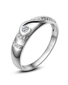 Alliance Femme solitaire diamants - Bague moderne Platine | Éclat glacé