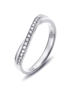 Alliance ondulée or blanc - Alliance femme avec diamants | Métis