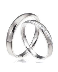 Alliances modernes homme et femme. Or blanc 18cts, diamants | Tea & Ovidio