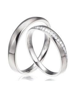 Alliances modernes homme et femme. Platine, diamants | Tea & Ovidio