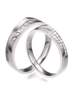 Alliances Homme et Femme en Or Blanc 18cts et Diamants