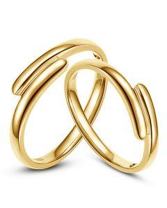 Alliances Couple. Or jaune. Diamants 0.016ct