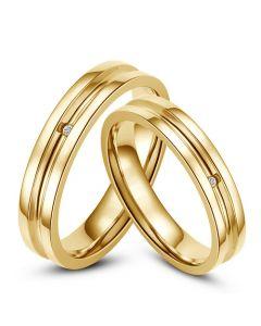 Bagues alliances Duo - Anneaux diamants or jaune | Gaya & Barclay