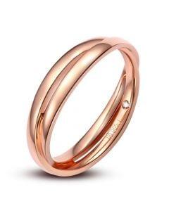 Alliance 2 anneaux or rose Homme - Diamant
