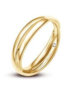 Alliance 2 anneaux or jaune Homme - Diamant