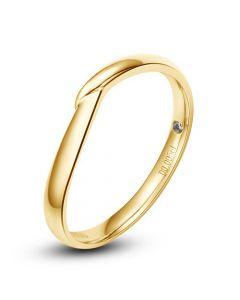 Alliance bague facettée - Alliance diamant Homme - Or jaune