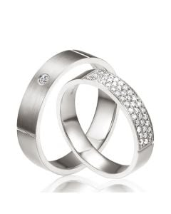 Alliances or blanc Couple - Sertissage diamants