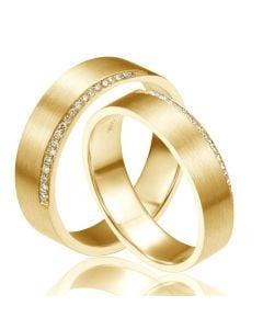 Alliances Couple. Or jaune. Diamants 0.120ct