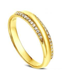 Alliance Femme. Or jaune. Diamants 0.11ct