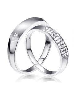Alliances biseautées platine pour Couple - Sertissage en diamants