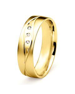 Alliance Homme lignes enchevêtrées - Or jaune, diamants