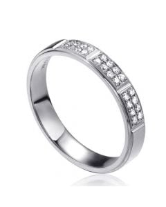 Alliance biseautée femme - Or blanc pavage diamants
