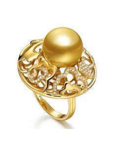 Anello Pivoine - Perla dei Mari del Sud Dorata e Oro Giallo
