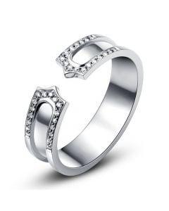 Alliance platine originale - Anneau discontinu pour Lui - Diamants