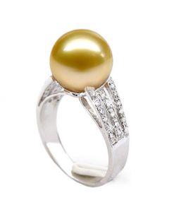 Bague Île de Barrow - Perle d'Australie dorée - Or blanc, diamants