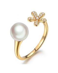 Anello fiore e perla Akoya bianca Giappone. Oro giallo e Diamanti