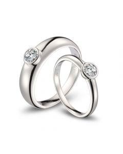 Fedi Nuziali Galina & Martens - Oro Bianco & Diamante Solitario
