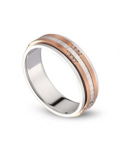 Alliance 2 ors Homme - Or blanc poli et rose brossé - Diamants