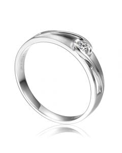 Alliance solitaire ajouré - Alliance Homme diamant or blanc