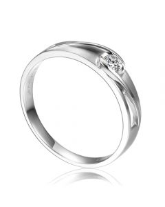 Alliance solitaire ajouré - Alliance Femme diamant platine