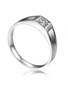 Alliance de type solitaire. Alliance Homme en or blanc et diamant | Falcon