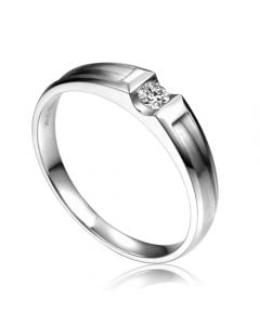 Alliance solitaire diamant -  Alliance Homme platine | Scott