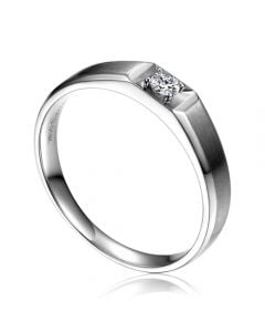 Anneau solitaire Homme - Alliance or blanc diamant serti grain