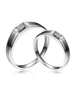 Fedi Nuziali Dalia & Marciano - Oro Bianco, Diamante Solitario