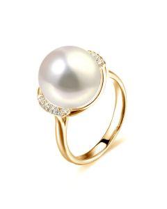 Bague perle d'eau douce et or jaune - Plateau circulaire en diamants