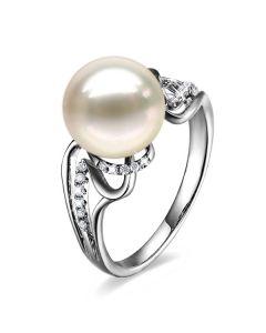 Bague luxe et moderne perle eau douce blanche - Or blanc, diamants