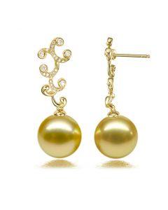 Boucles d'oreilles pétales dorés - Perles d'Australie
